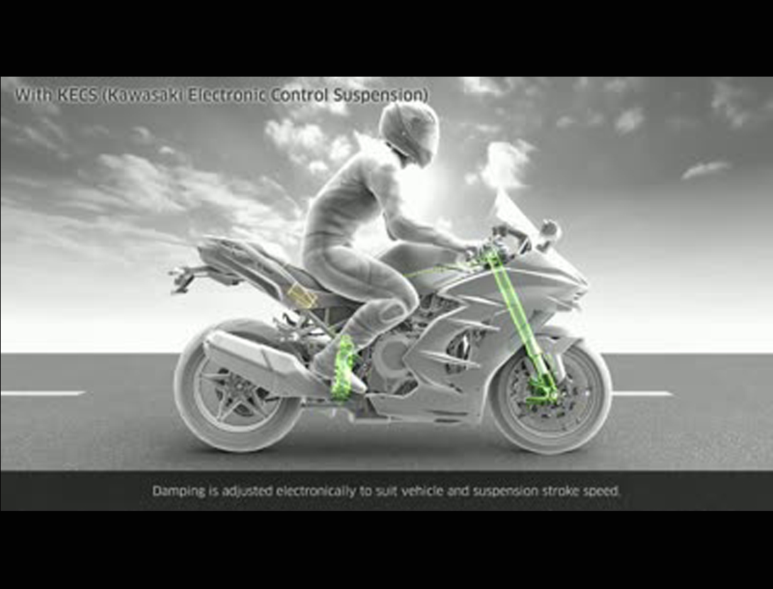Video of KECS (KAWASAKI ELECTRONIC CONTROL SUSPENSION)