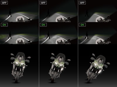 Motorcycle cornering lights on and off