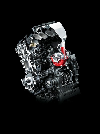Engine with supercharger highlighted