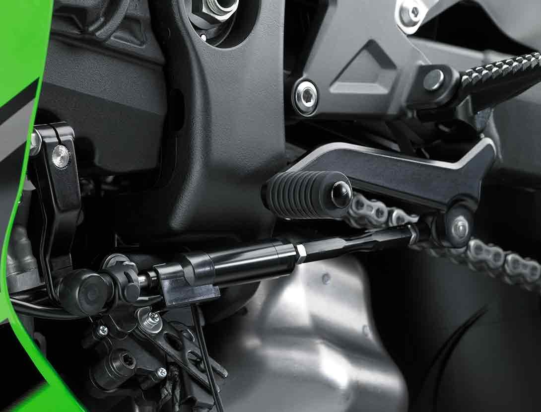 Close up of Kawasaki Quick Shifter on motorcycle