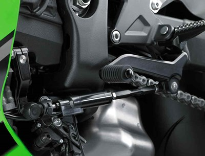 Close up of Kawasaki Quick Shifter on motorcycle