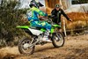 Three-quarter rear angle of person riding a motorcycle on a dirt trail.